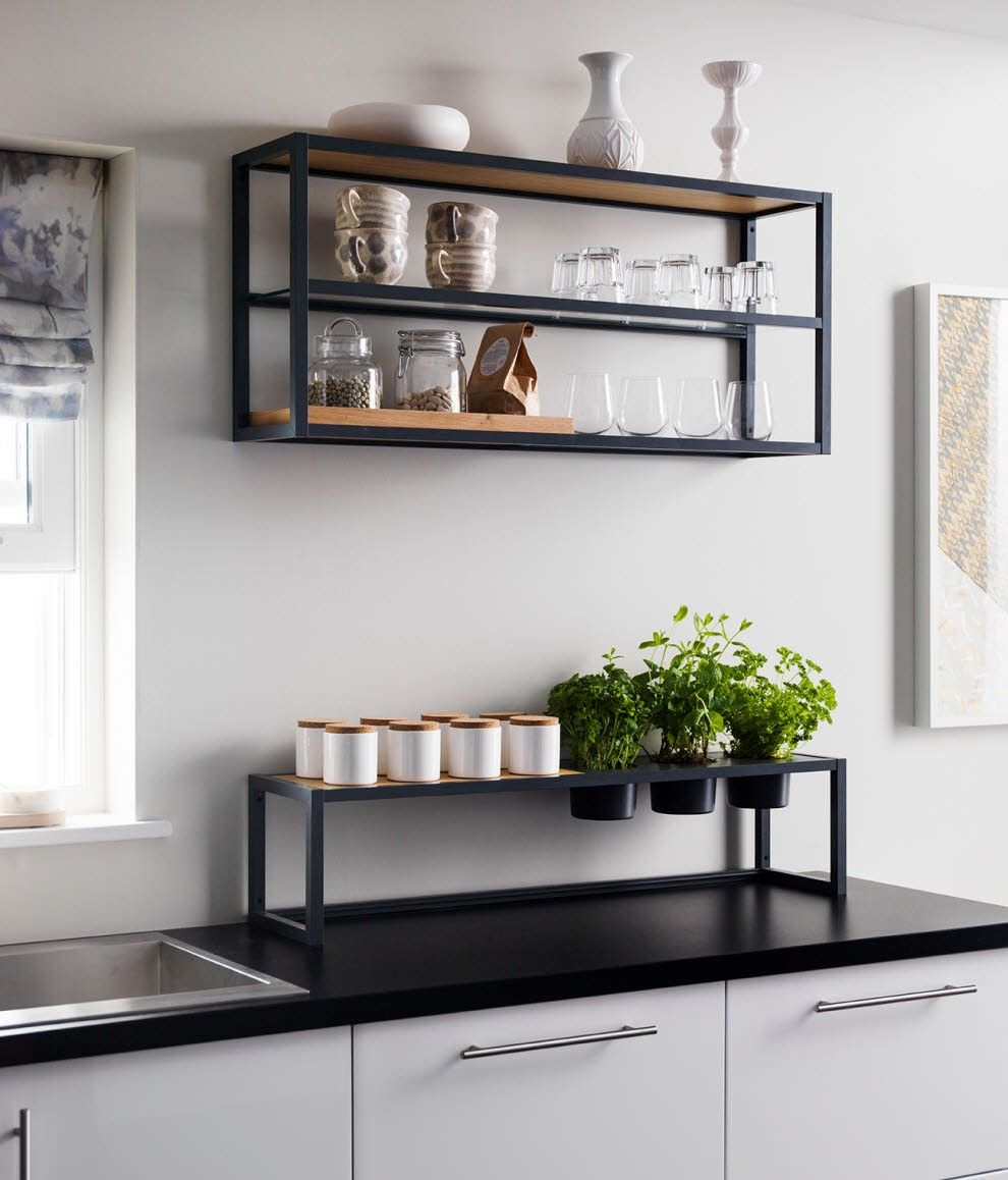 Freestanding Countertop Shelf Wood Black Metal Frame Shelves Wood Shelves Home Decor Kitchen