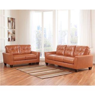 Benchcraft Paulie Living Room Set In Orange Durablend Orange