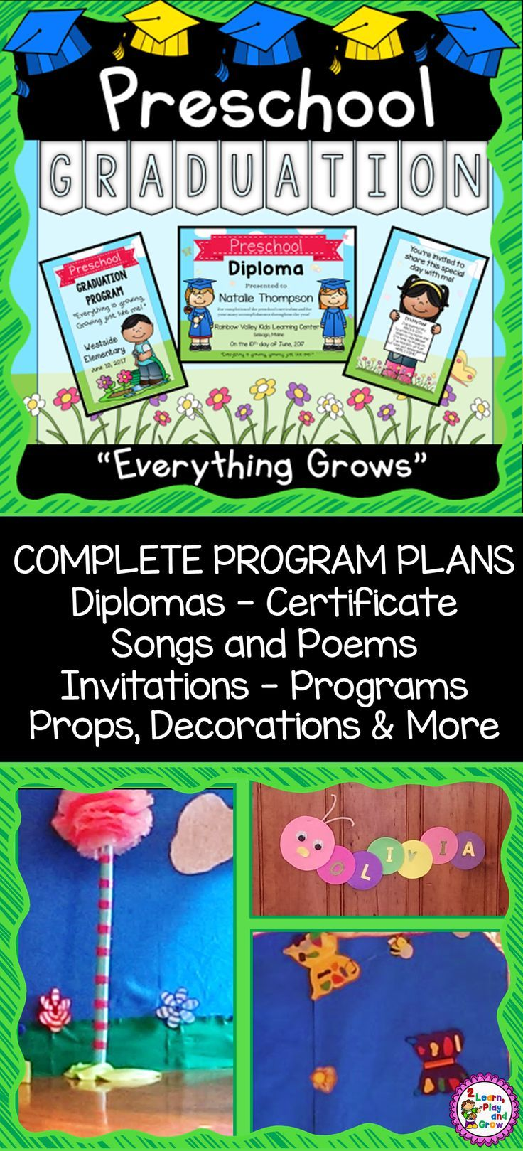 Preschool Graduation Diplomas Invitations Program Poems Songs