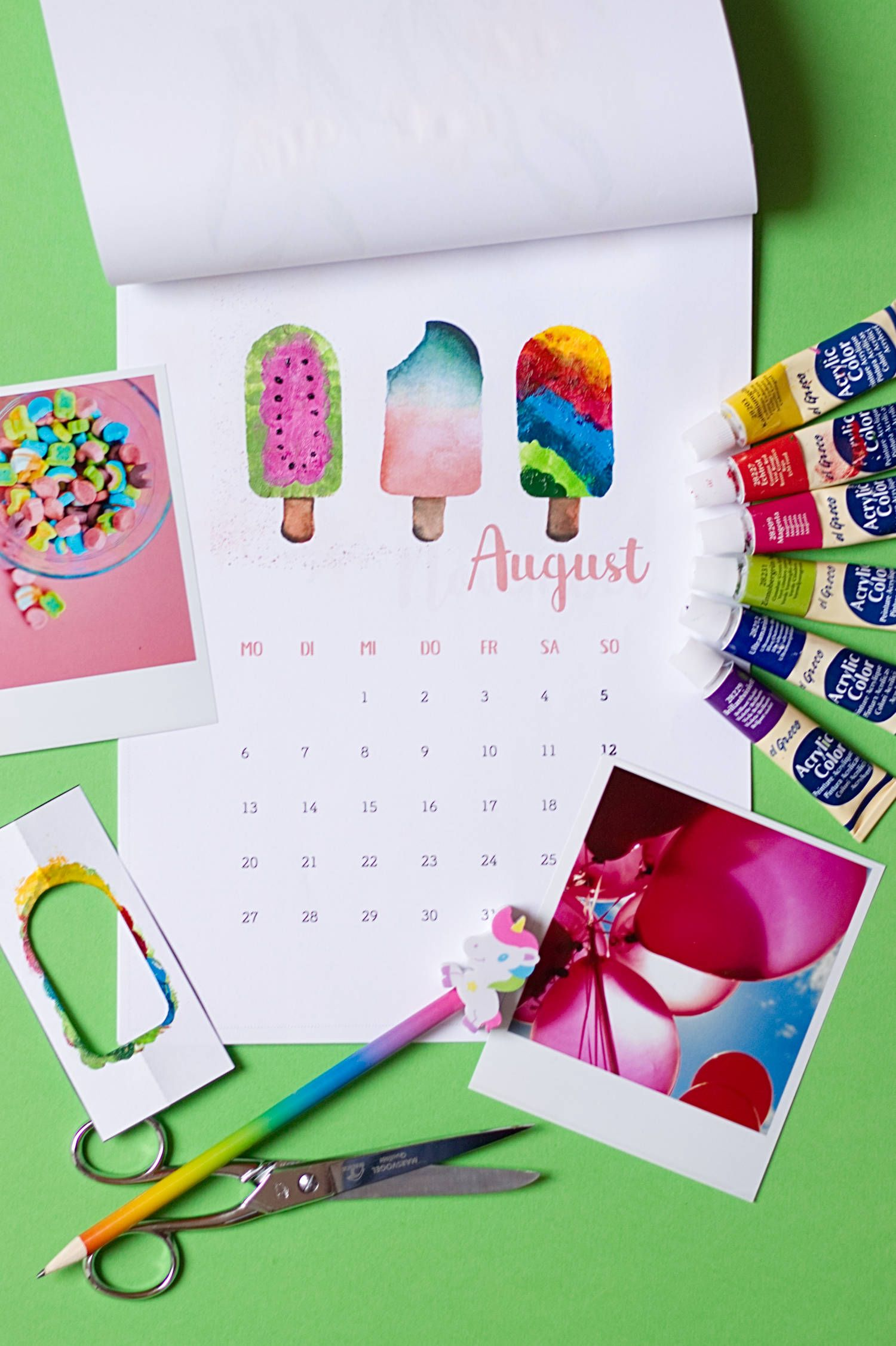DIY Kalender 2018 zum Fingerstempeln - FREEBIE