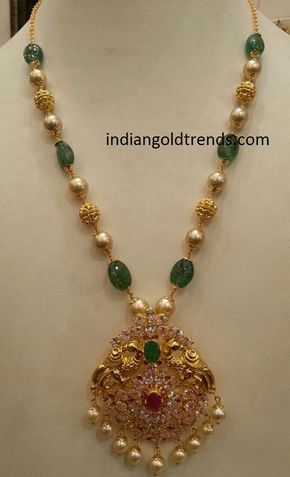 Latest Indian Gold And Diamond Jewellery Designs Emerald Pearl Beads With Peacock Pendant