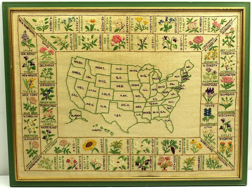 Vintage Needlework Crewel Embroidery Framed USA MAP OF STATE FLOWERS ...