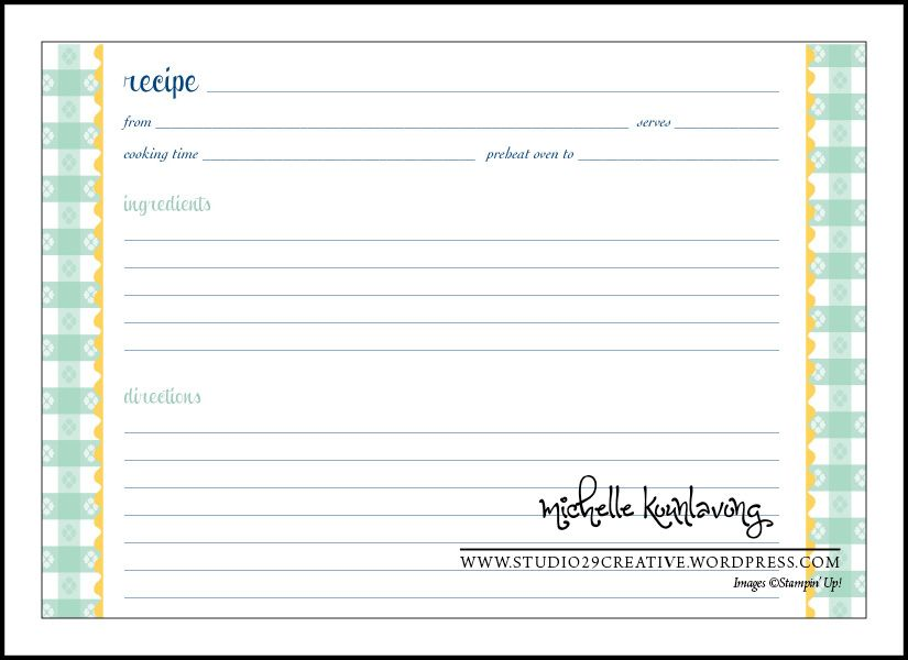 Recipes and Free Printable Card templates printable, Recipe - recipe card