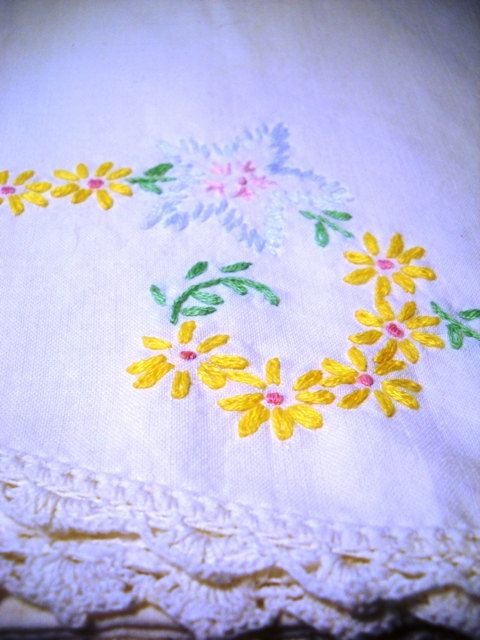 two vintage embroidered pillowcases crochet edge by littlegoodwolf, $12.00