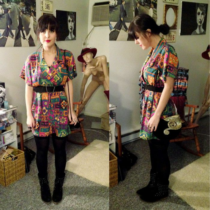 crazy colors. thrifted jumper made into a cute short dress! vintage belt, thrifted purse, thrifted boots. in love!