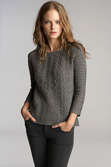Anela Patchwork Cable Crew Neck Sweater. Velvet by Graham & Spencer Fall 2013.