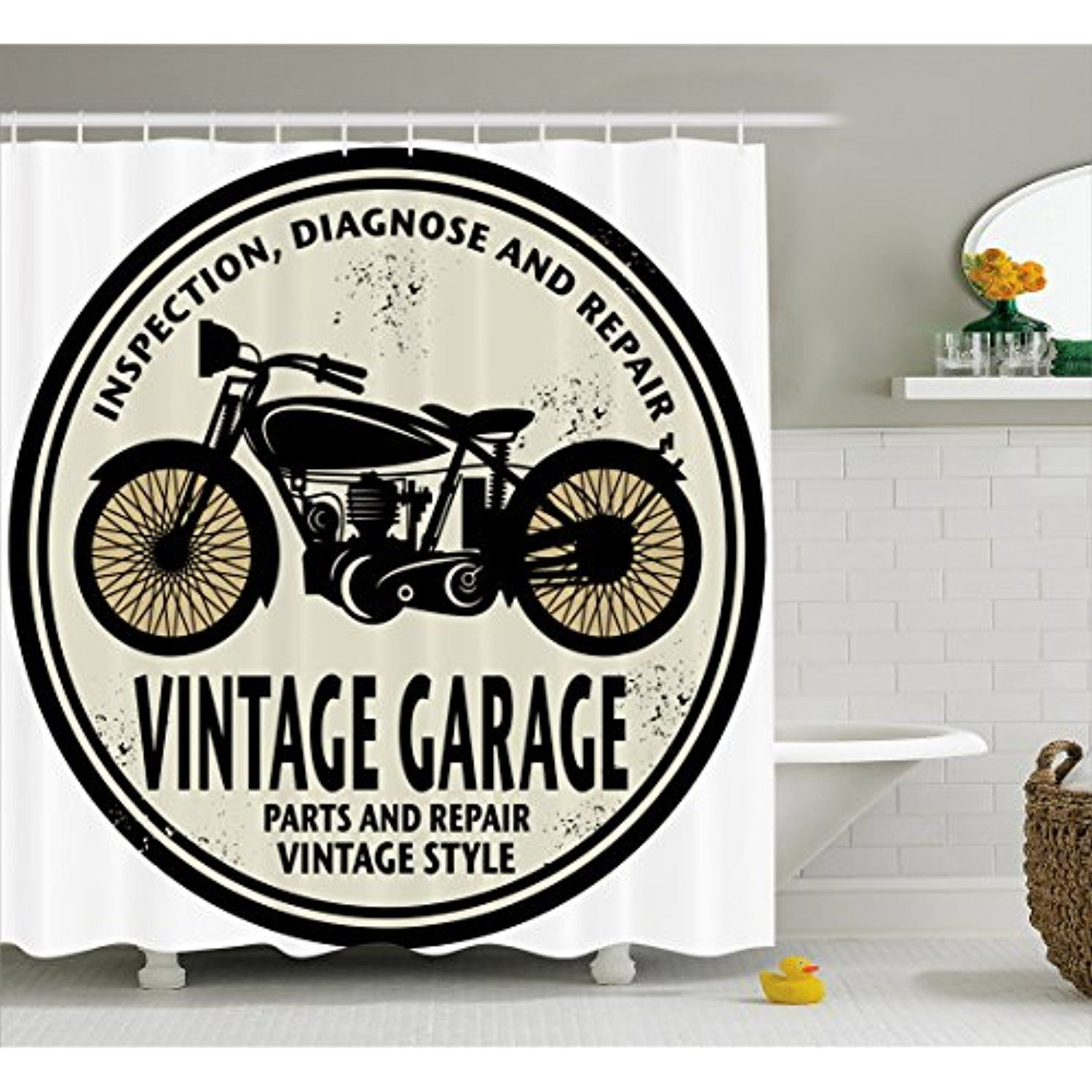 Man Cave Shower Curtain By Lunarable Grunge Retro Rubber Stamp Vintage Style Garage Custom Motorcycle Repair Bathroom Decor Sets Bathroom Decor Man Cave Decor