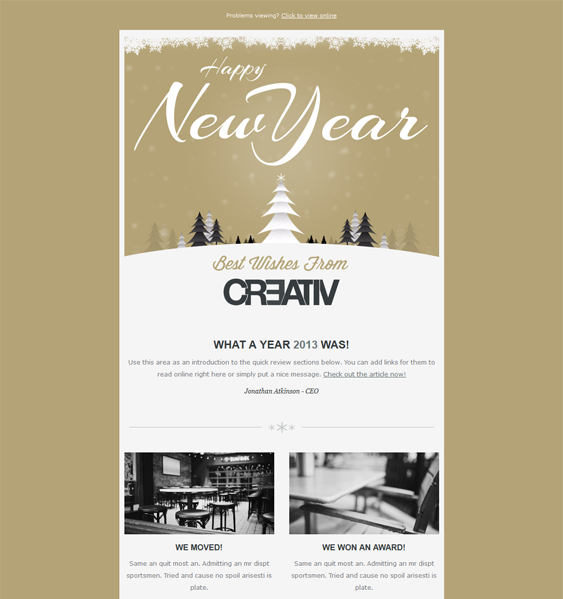 happy new year 2 christmas holiday email template