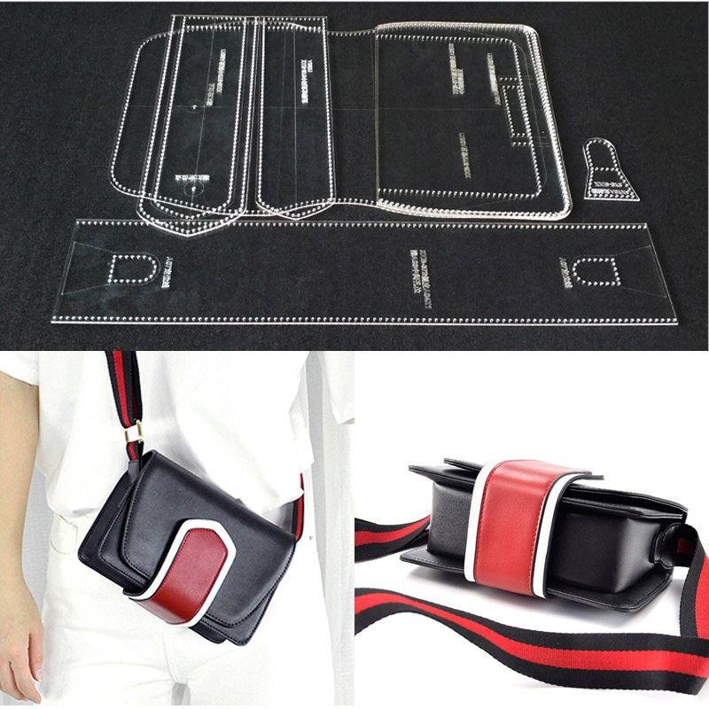 8271b335 1 Unidades de patrones de costura corte láser patrón de plantilla de  acrílico duradero para DIY hecho a mano bolso de cuero artesanal costura  plantillas ...