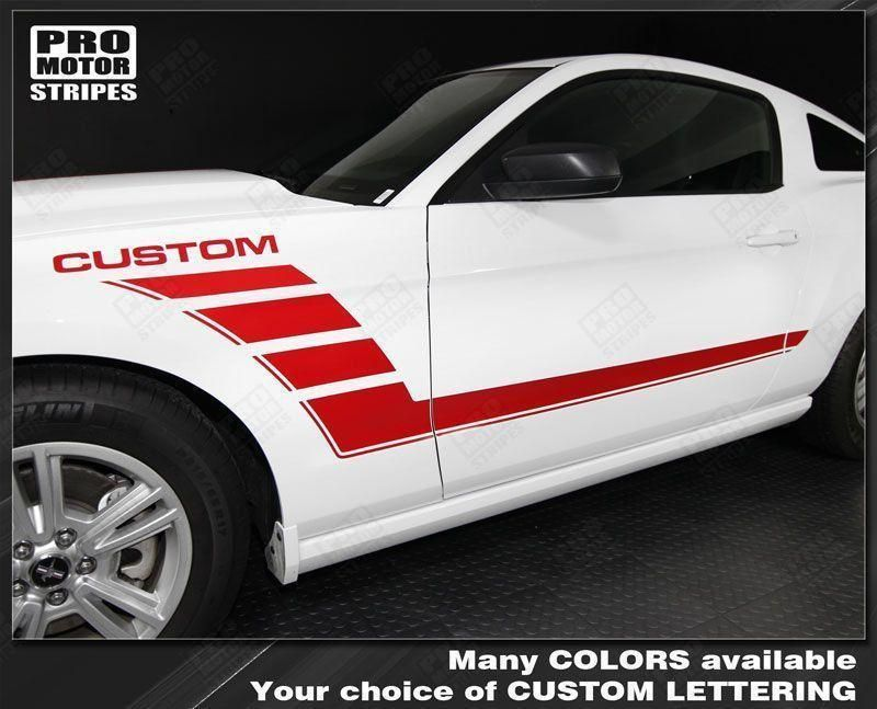 Ford Mustang Hood and Side Strobe Stripes Decals 2010 2011 2012 2013 2014
