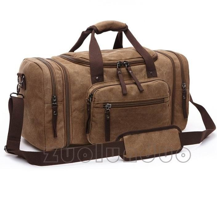 Buy Vintage canvas men travel bags women weekend carry on luggage ...