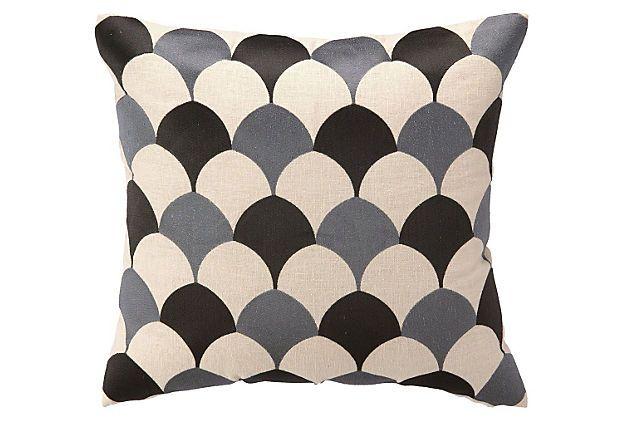 Deco Scales 20x20 Linen Pillow, Graphite on OneKingsLane.com
