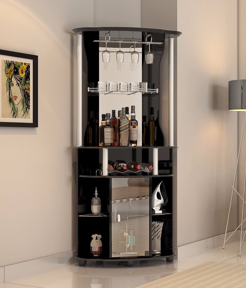 Bar Cabinet Corner Home Bottle Storage Wine Rack Liquor Pub Furniture  Stemware #Hodedah