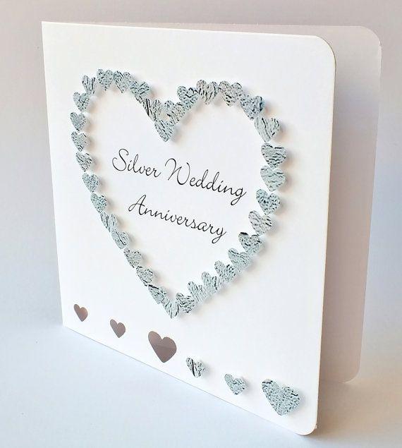 Handmade 3D 25th Wedding Anniversary Card