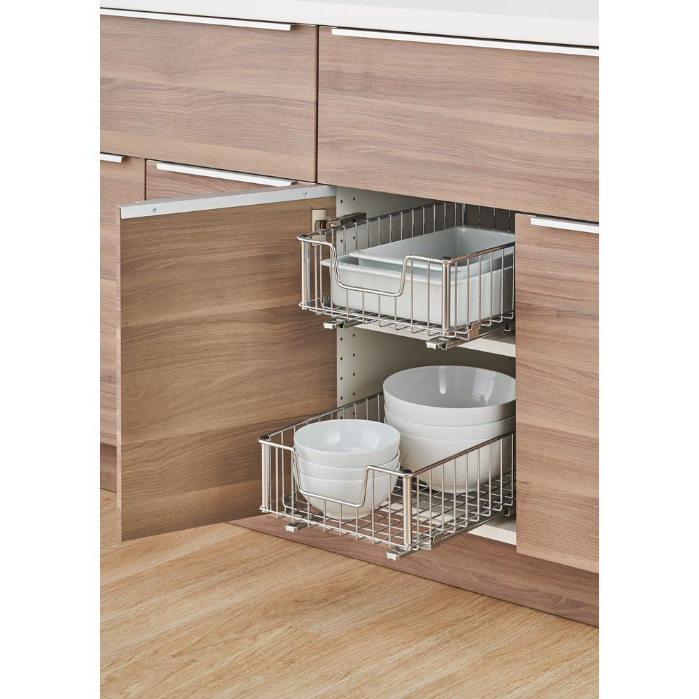 Trinity Ecostorage 11 5 In W X 17 75 In D X 6 25 In H Chrome Wire In Cabinet Pull Out Bottom Mount Wire Drawer Silver Metallic Ikea Kitchen Kitchen Storage Shelves