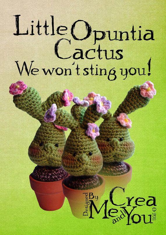 28 - Little Opuntia Cactus (Crochet Pattern)   Kaktus und Tier