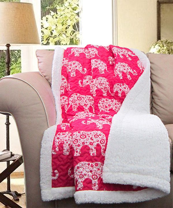 Look at this Pink Elephant Sherpa-Lined Throw on #zulily today! An ...