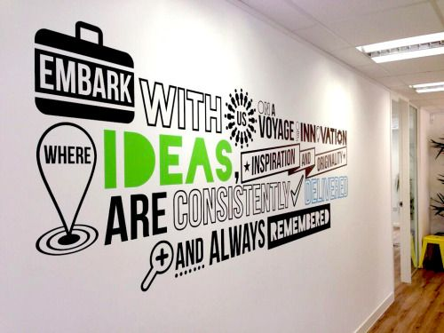 office typography wall decal | graphic design | office wall design