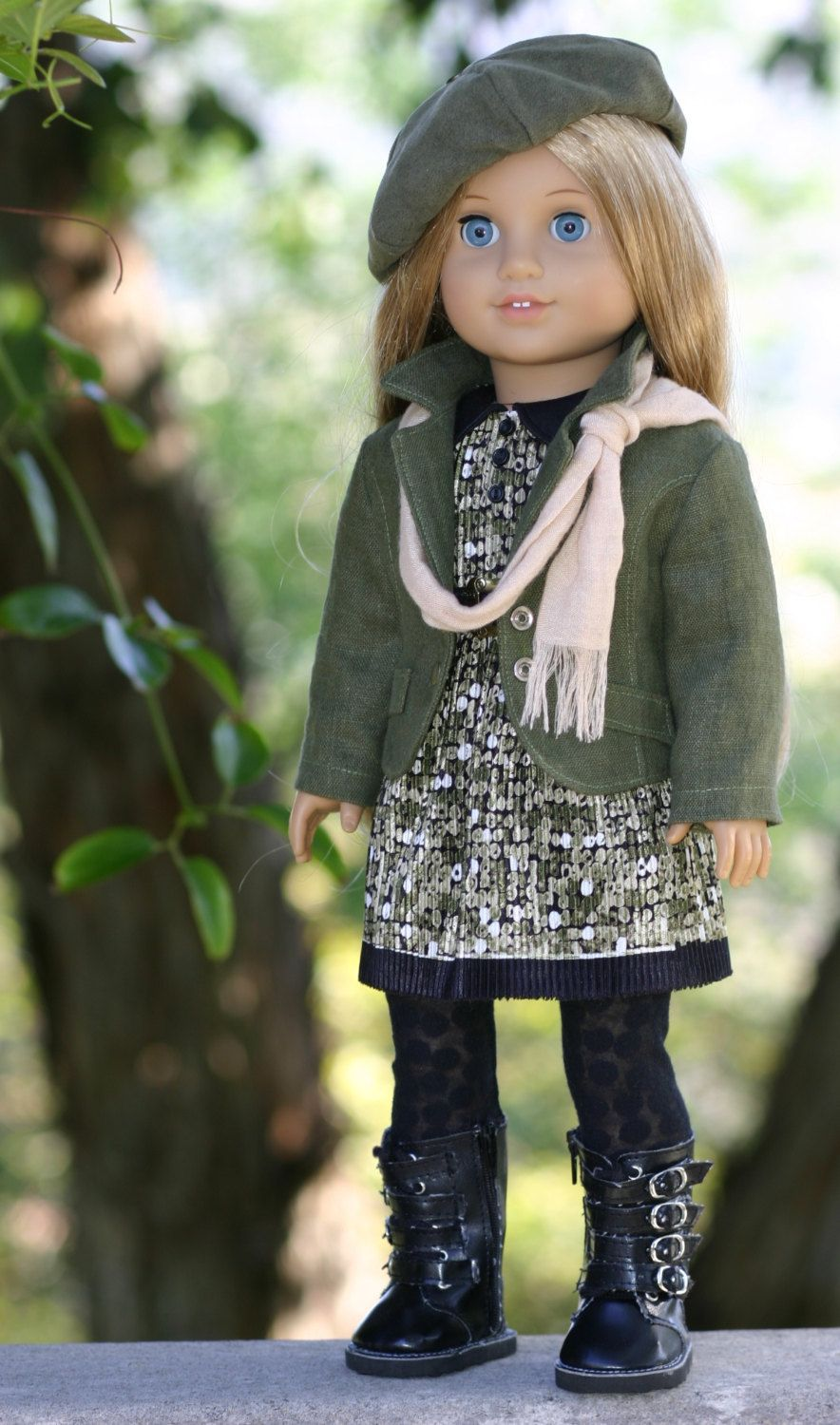 SOLD....American Girl Doll Linen Blazer, Pleated-Jersey Dress, Suede Beret, Leggings, Scarf.  via Etsy.