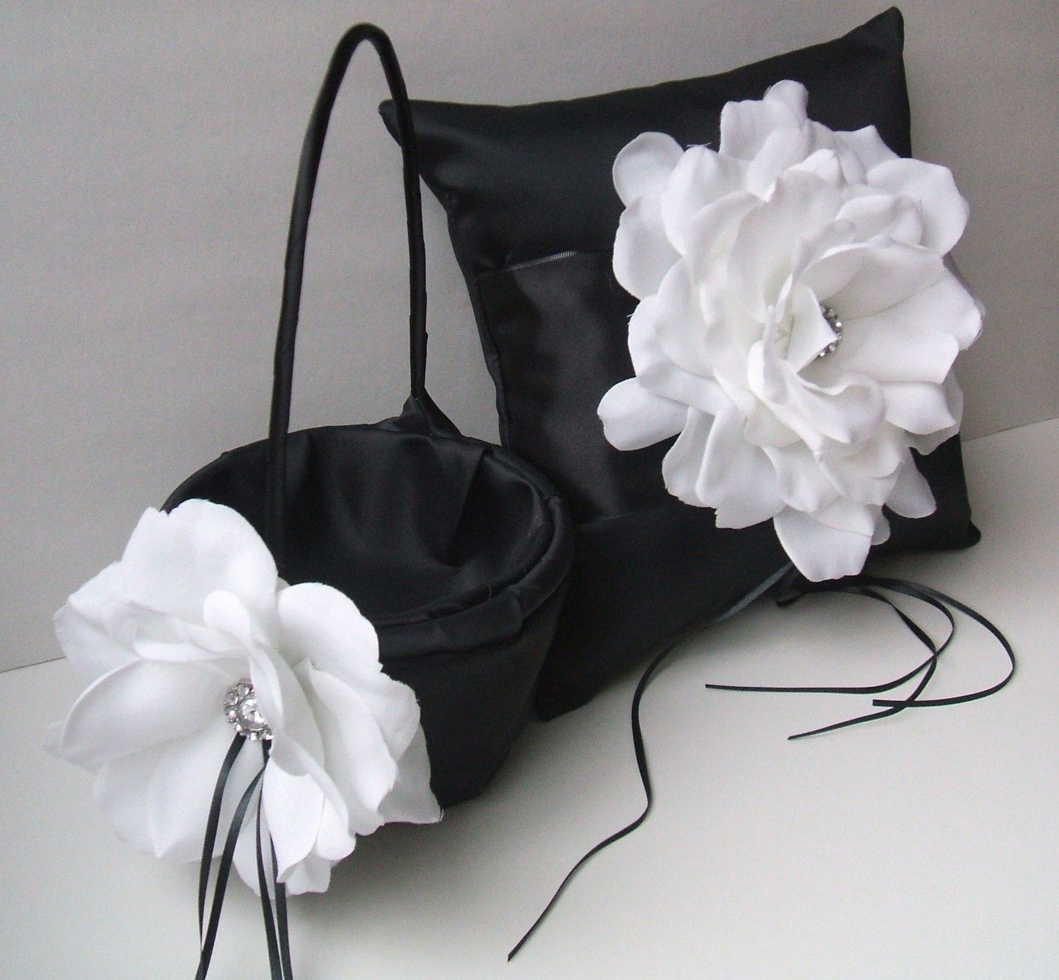 10 Inch Satin And Sash Ring Bearer Pillowflower Girl Basket Set