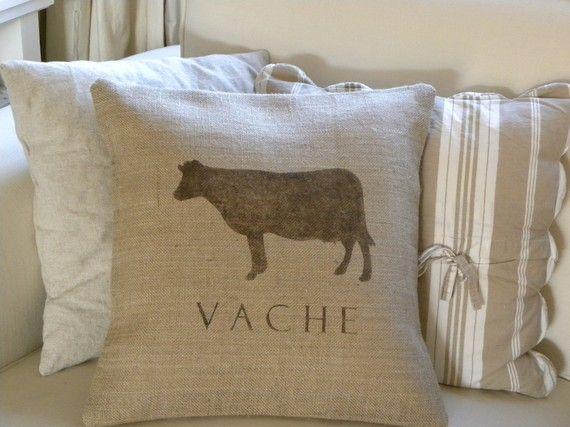 Burlap Hessian French Cow Vache Pillow Cover Idees Pour La