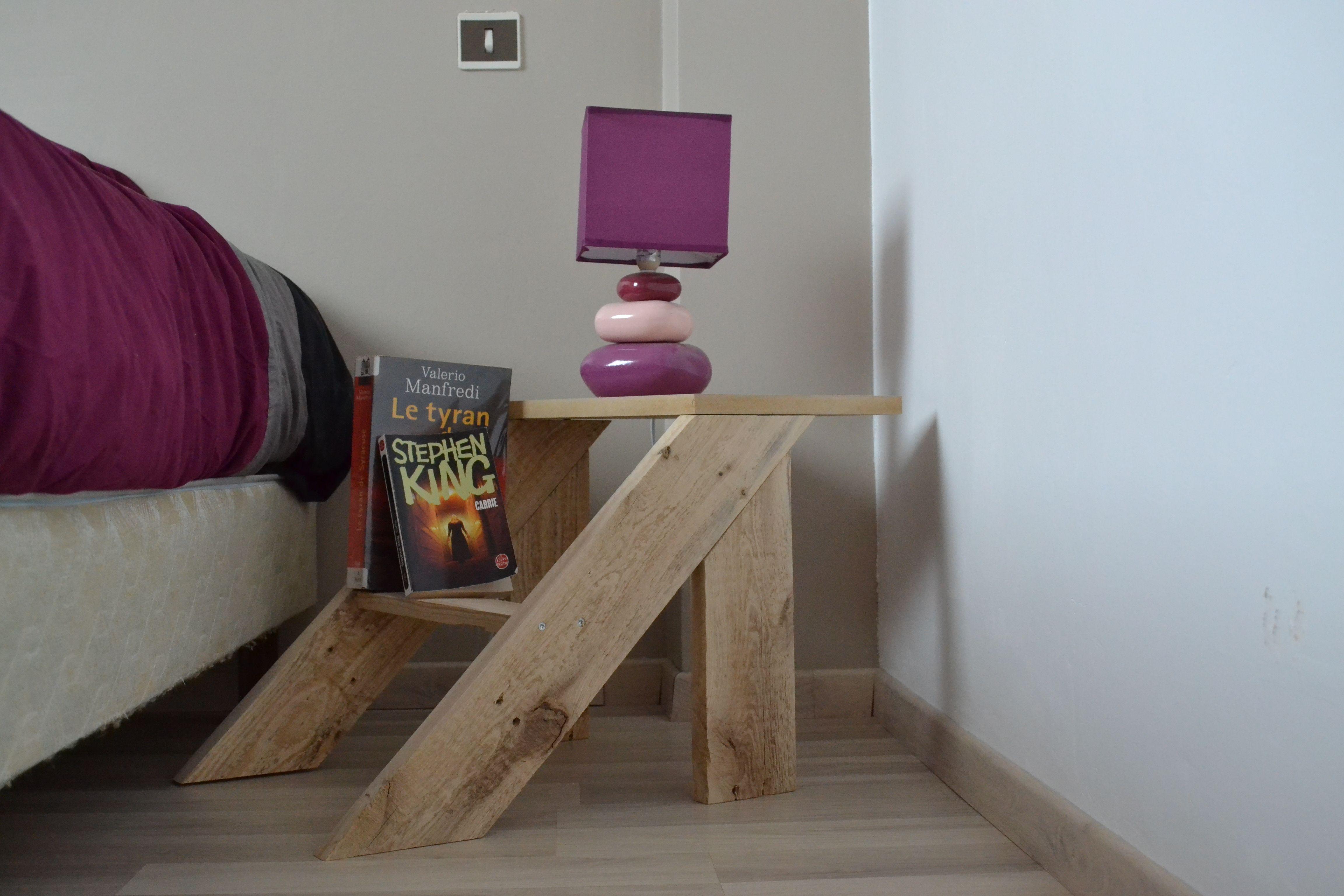Cr ation d 39 une table de chevet en palette de plus d 39 infos sur http mobilierbois - Creation en palette ...
