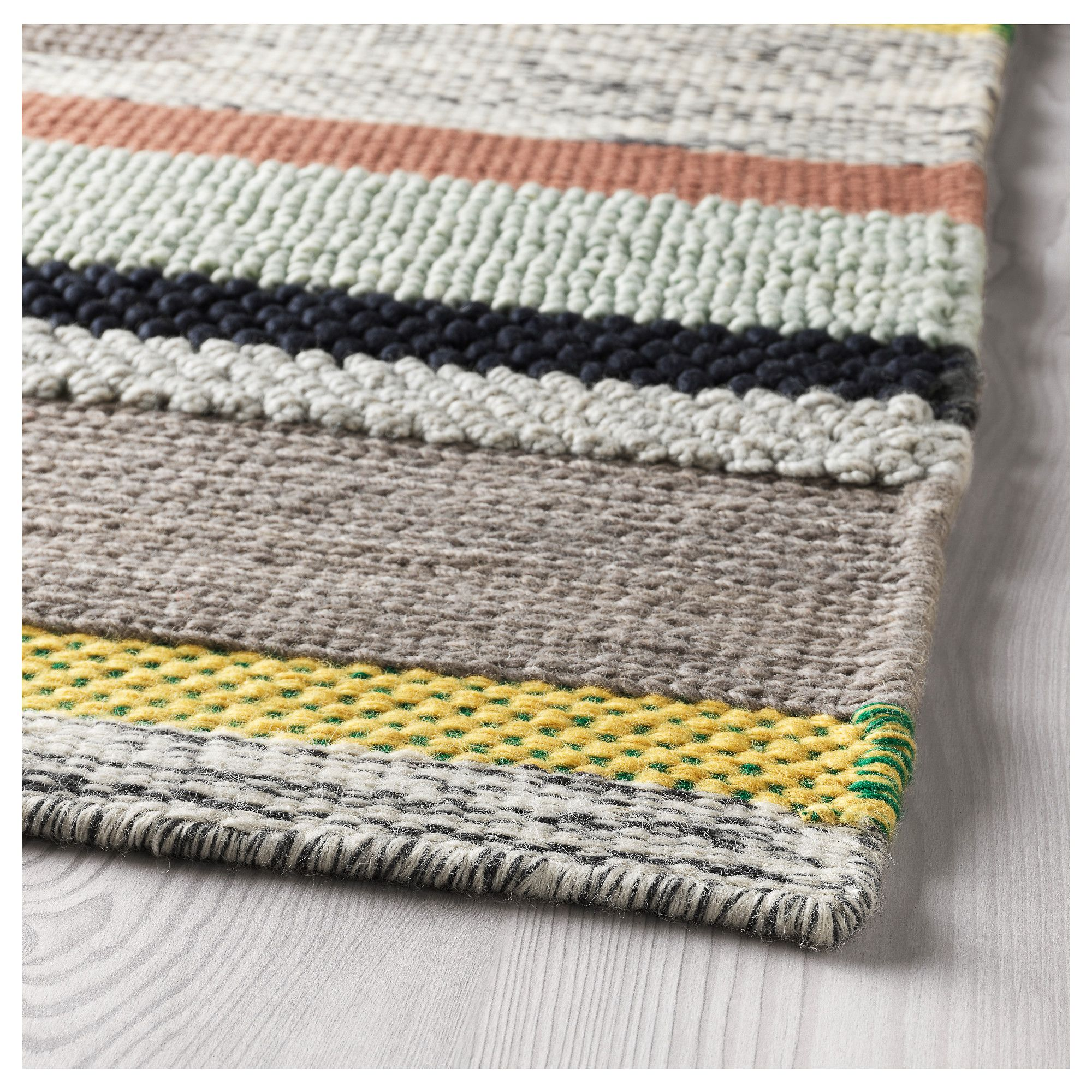 Ikea BrÖnden Rug Low Pile Handmade Multicolor Home