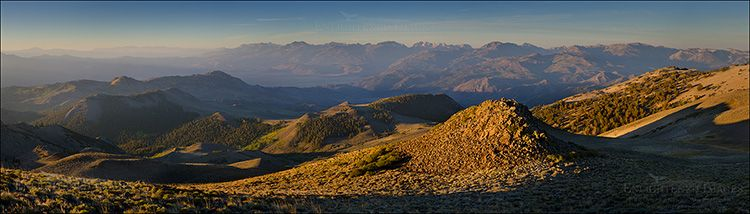Panoramic Photo: Morning light on the east slope of the Sierra Nevada, from the Sweetwater Mountains, California