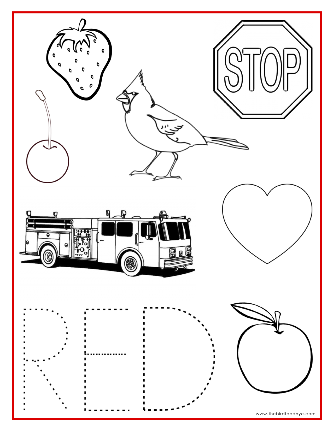 Colouring pages with colour - Red Color Activity Sheet