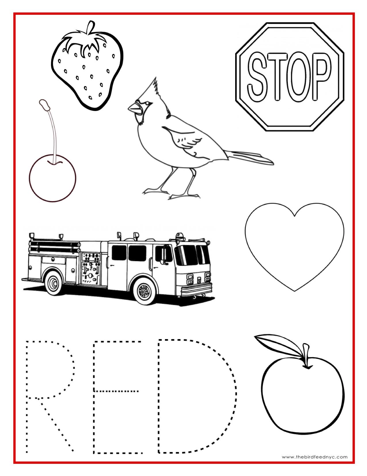 Red Color Activity Sheet Teaching Preschool Pinterest Color
