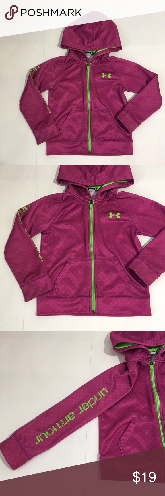 Under Amour Pink Purple Hooded Zip Up Sweater Sz 5 Girls Under ...