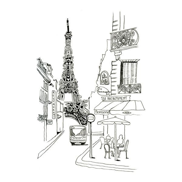 paris sketch for photobooth Baby Deux Girl ❤ liked on Polyvore