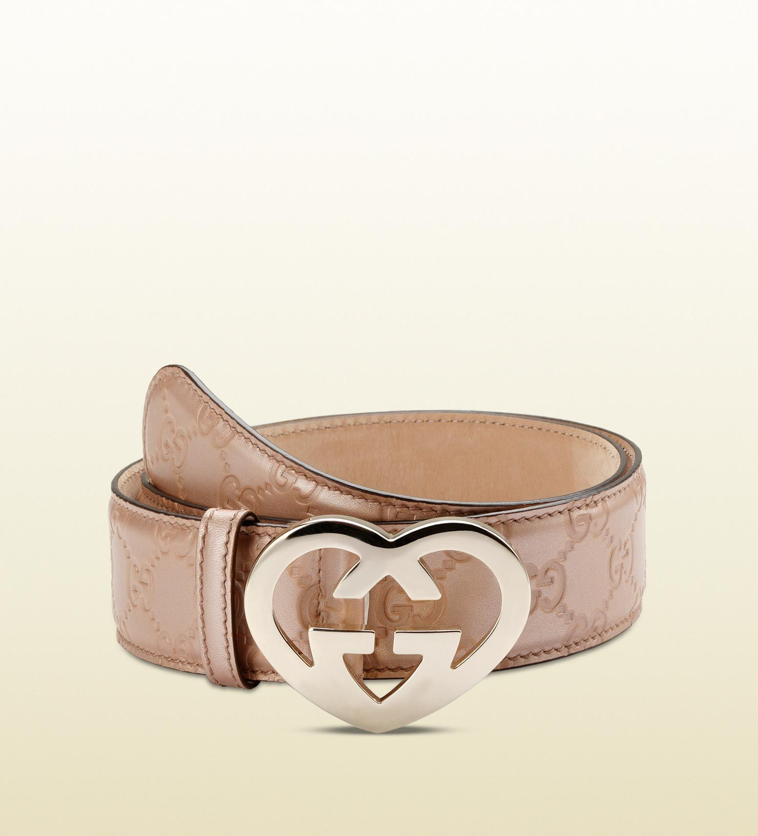 3d8bb37a65a Gucci belt with heart-shaped interlocking G buckle
