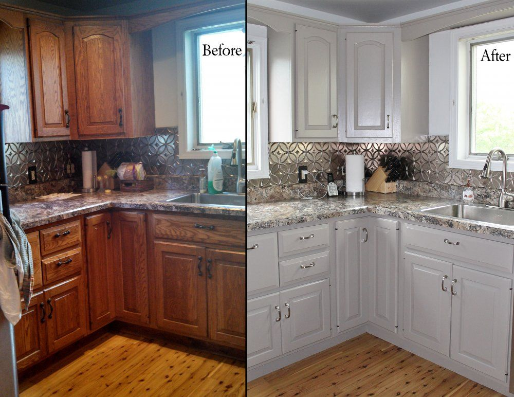 Painting oak kitchen cabinets before and after with white for Painting kitchen cabinets