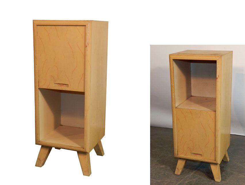 Canada 1950 petit meuble d 39 appoint en bois peint porte - Petit meuble d appoint salon ...