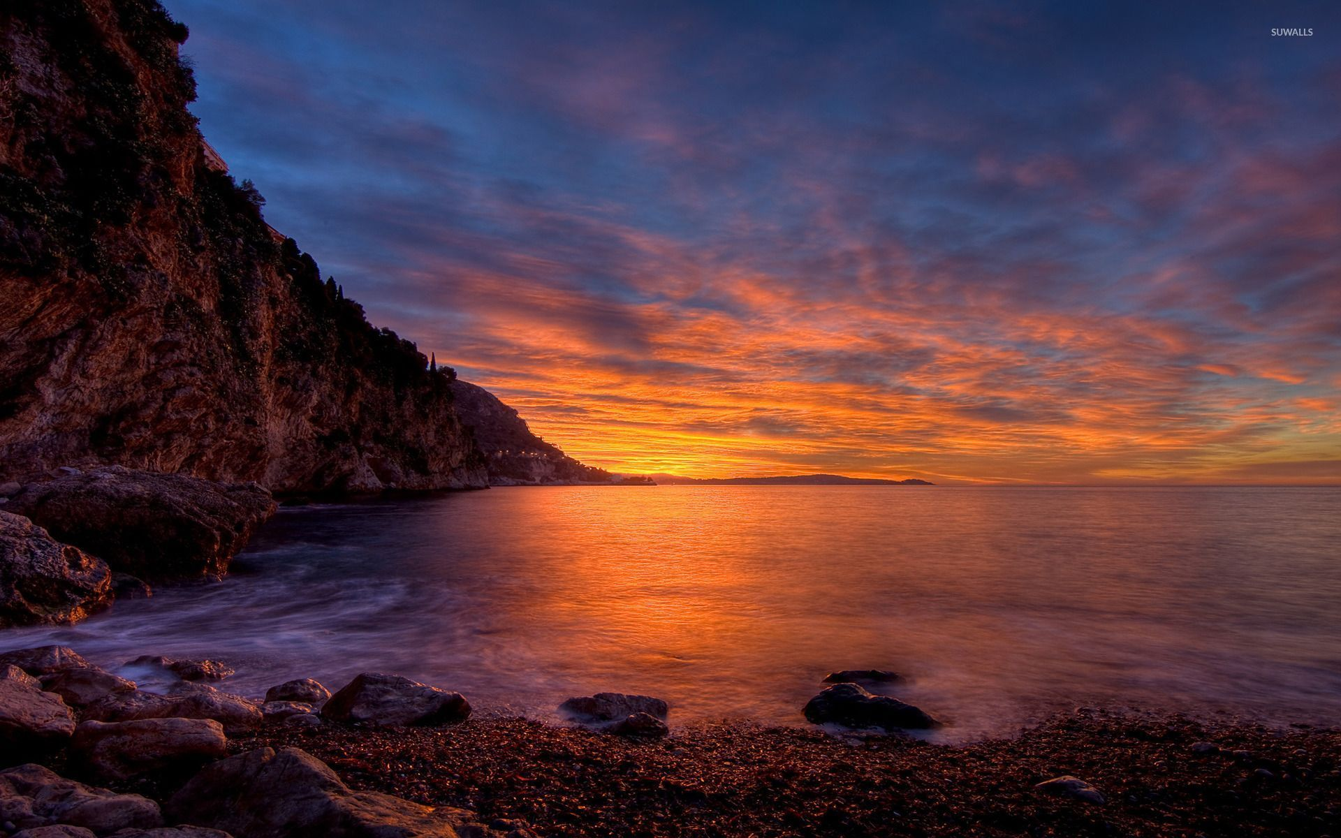 Beautiful Sunset Over The Rocky Shore Wallpaper Beach Wallpapers