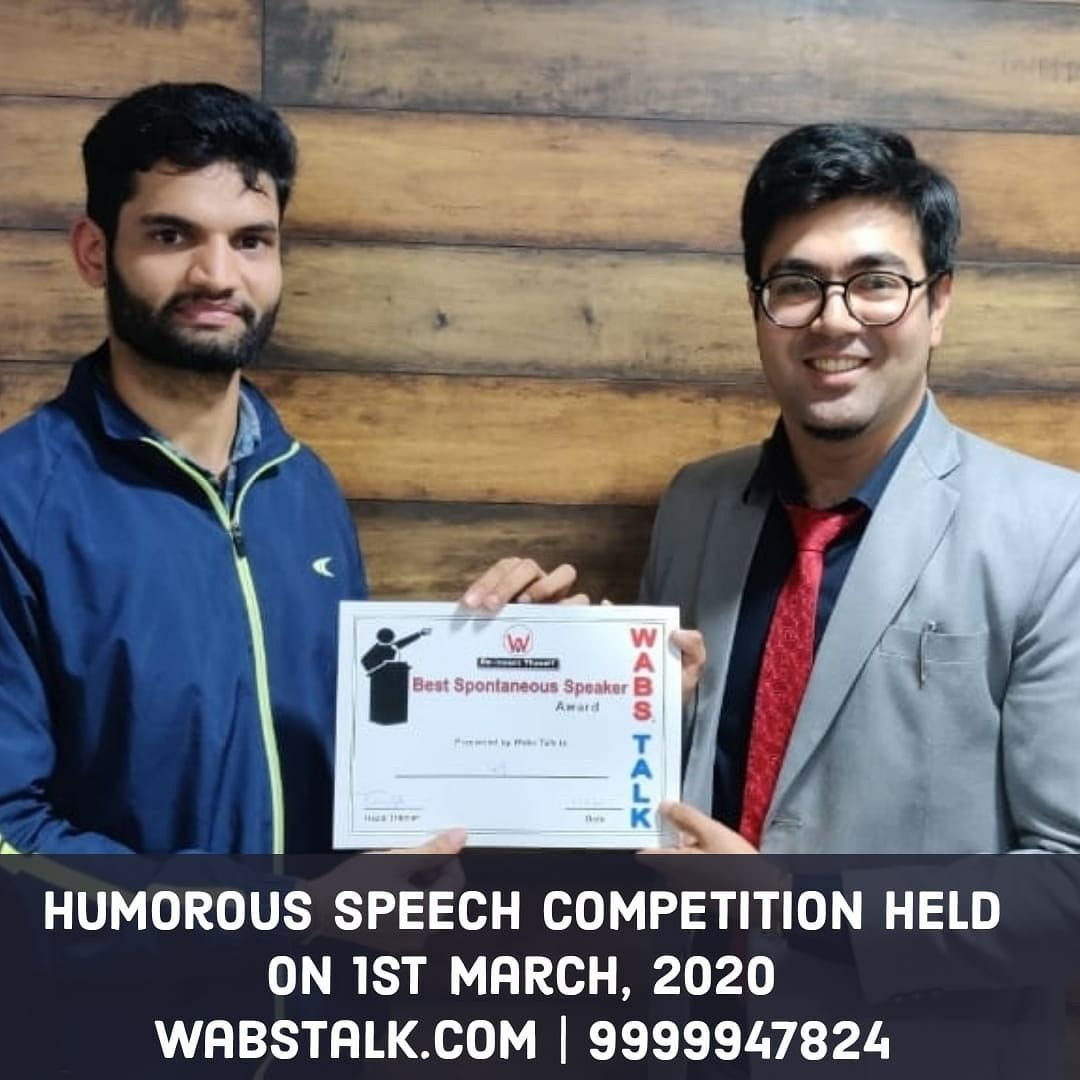 Humorous Speech Competition on 1-3-20