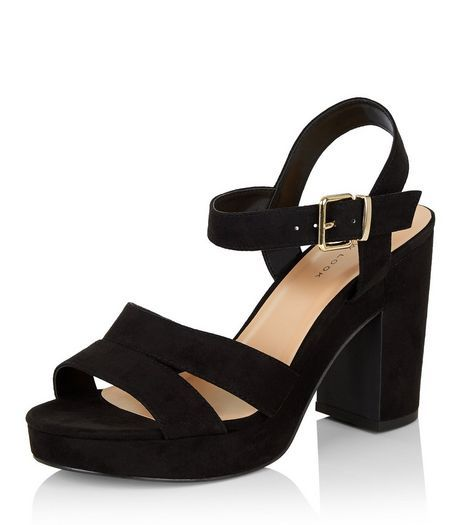 black suedette ankle heels new look shoes
