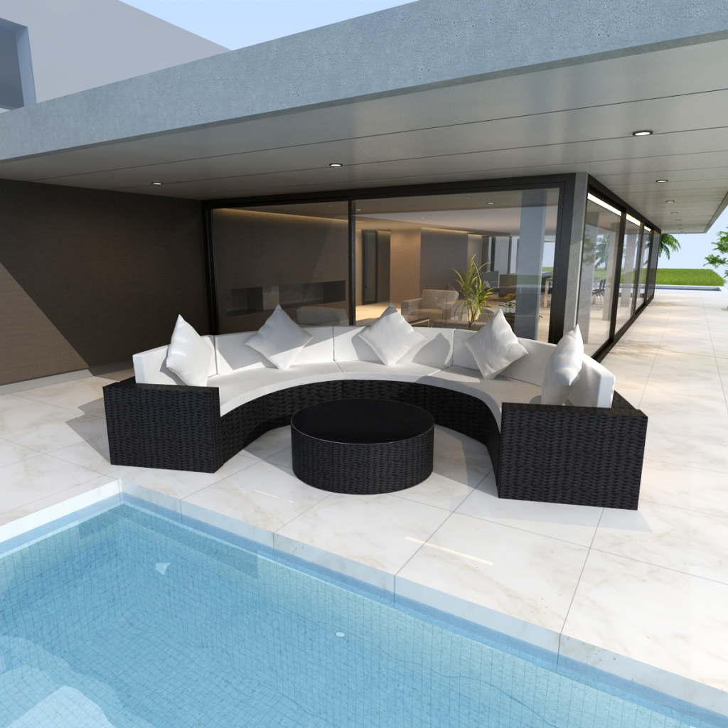 black Black Garden Half-round Poly Rattan Sofa Set with Table