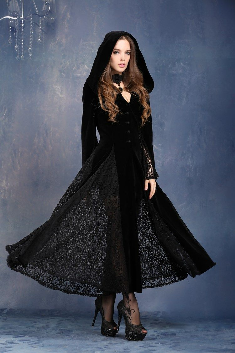 Dark In Love Victorian Gothic Vampire Gown, Long Velvet and Lace ...