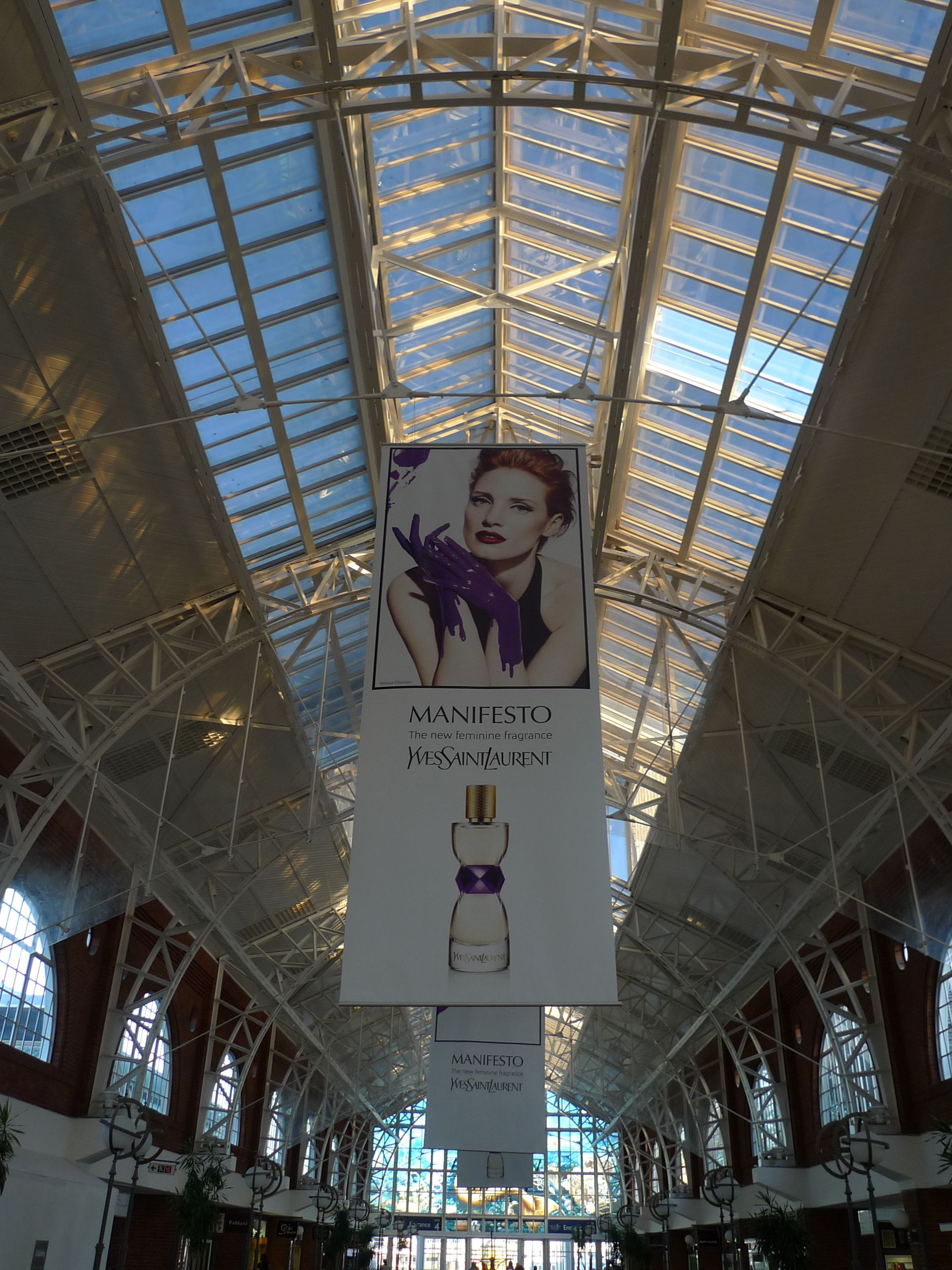 hanging advertising banner in shopping mall banner large