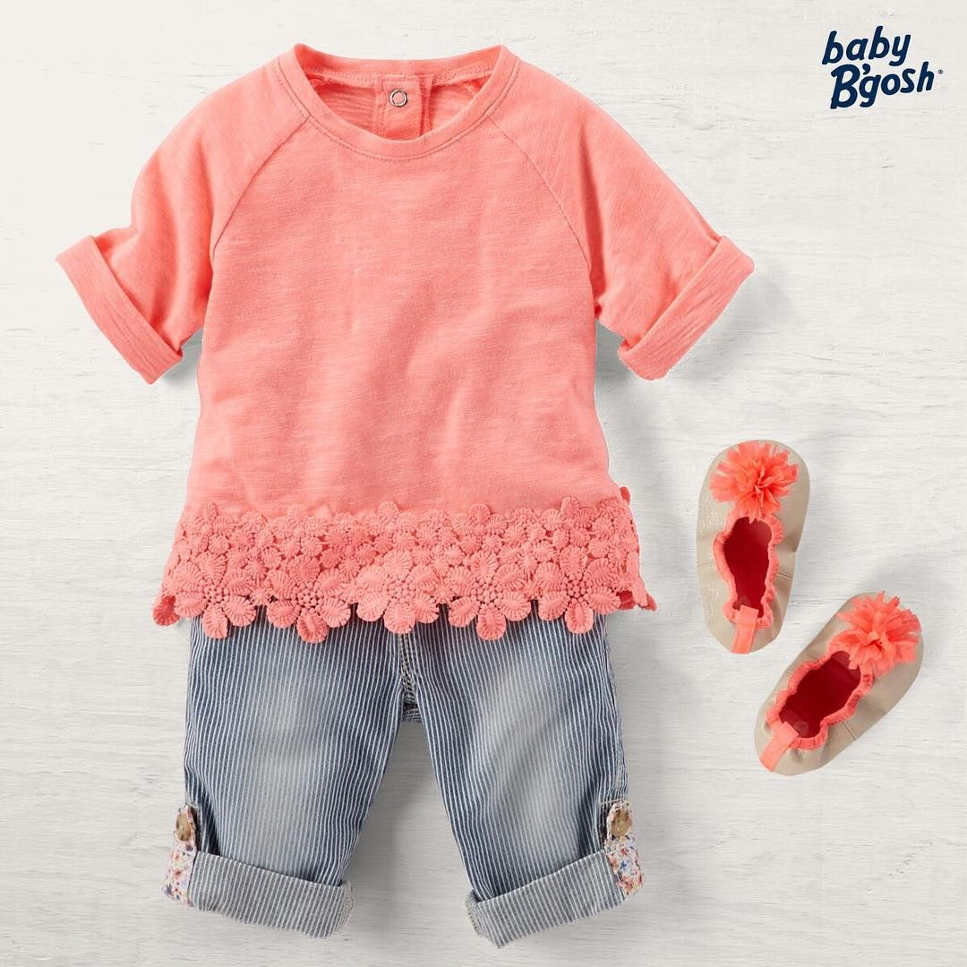 """""""Floral roll tabs? Why not! See more tiny details for her in our #babybgosh collection this spring."""""""