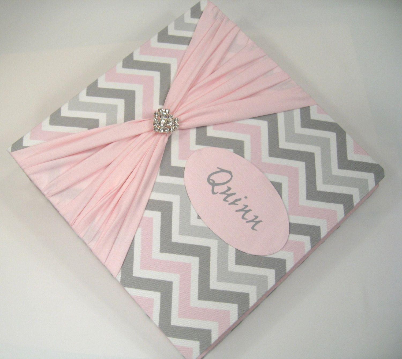 Photo Album Baby Girl Pink Grey Chevron And Sash By