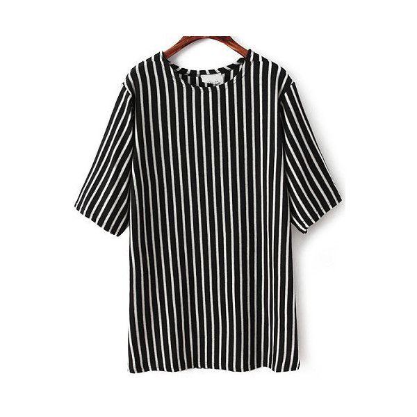 Black White Vertical Stripe Half Sleeve T-Shirt ($23) ❤ liked on Polyvore