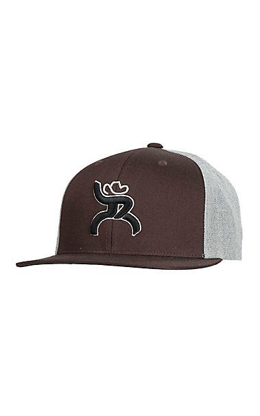 cc68c2532 HOOey Brown with Black Embroidered Logo and Grey Solid Back Snap ...