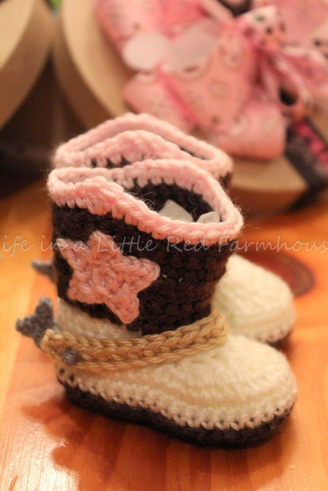 Life In A Little Red Farmhouse Crocheted Cowboy Booties With Spurs