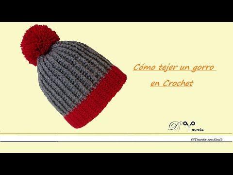 Gorro con pom pom en #Crochet- Patron de LionBrand.com - YouTube ...