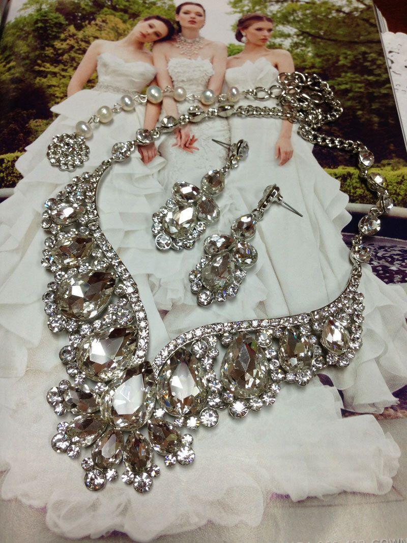Hollywood glam chunky bridal jewelry set crystal wedding jewelry