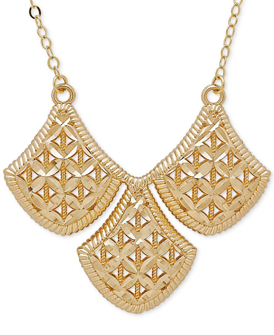 Filigree Triple Drop Pendant Necklace in k Gold Products