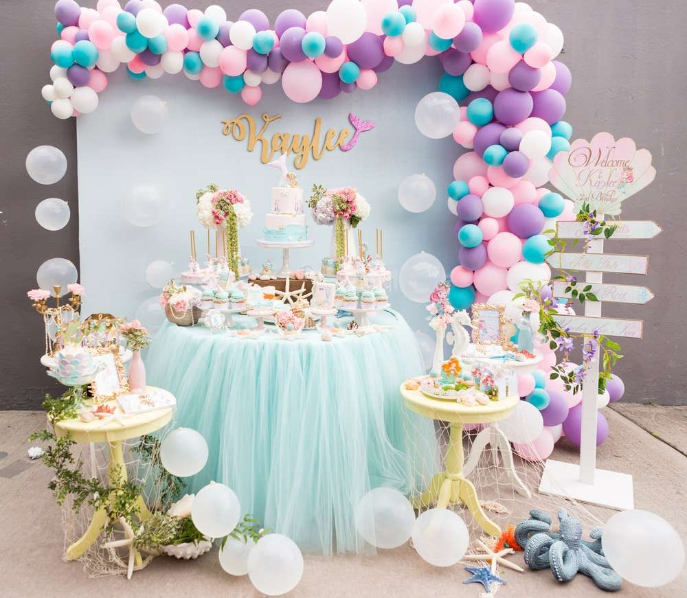 Pastel Mermaid Birthday Party Ideas In 2019 Mermaids